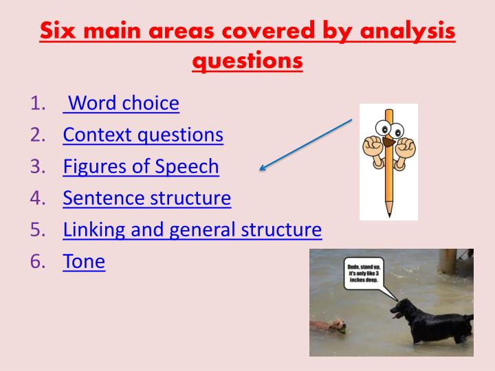 Six main areas covered by analysis questions
