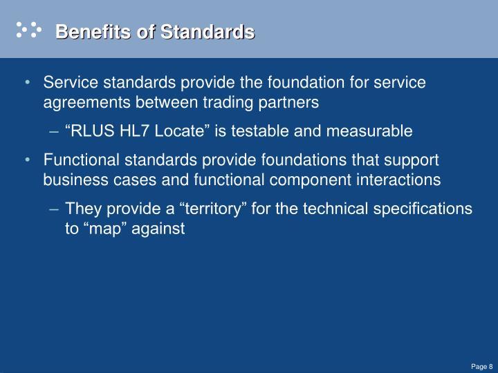 Benefits of Standards