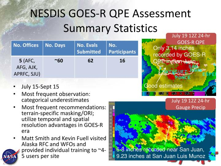 NESDIS GOES-R QPE Assessment Summary Statistics