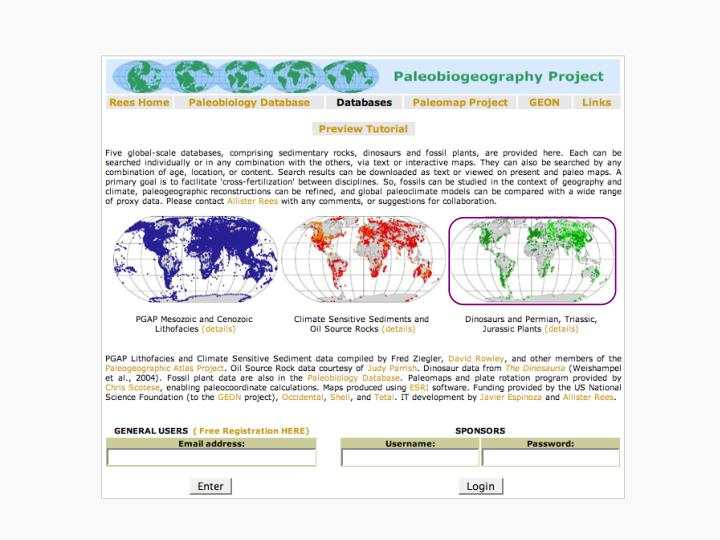 Integration of global scale geologic databases fossil and sedimentary examples