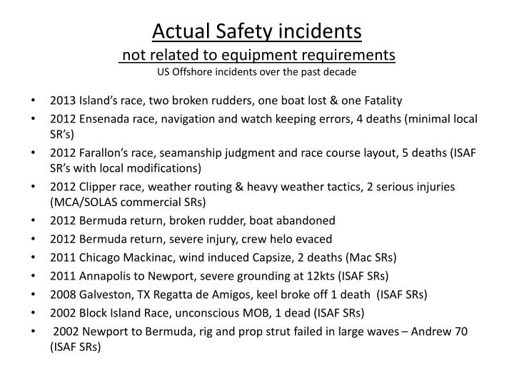 Actual Safety incidents