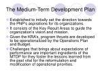 the medium term development plan