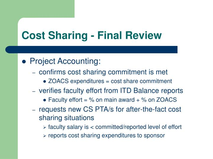 Cost Sharing - Final Review