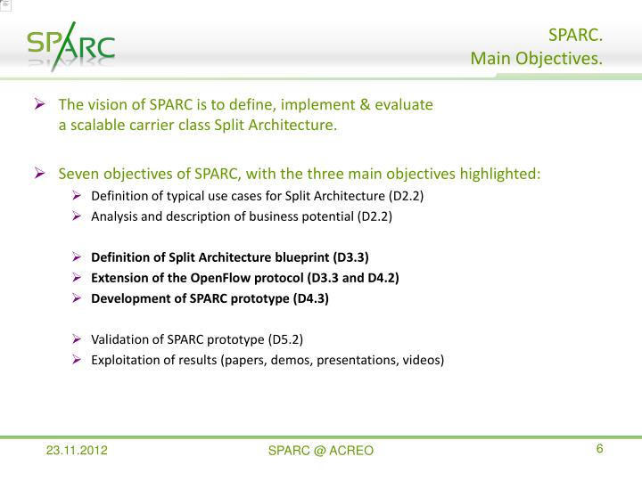 The vision of SPARC is to define, implement & evaluate