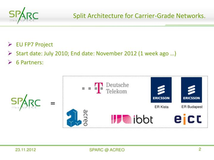 Split architecture for carrier grade networks