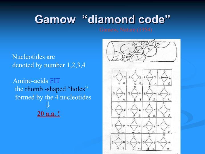"Gamow  ""diamond code"""