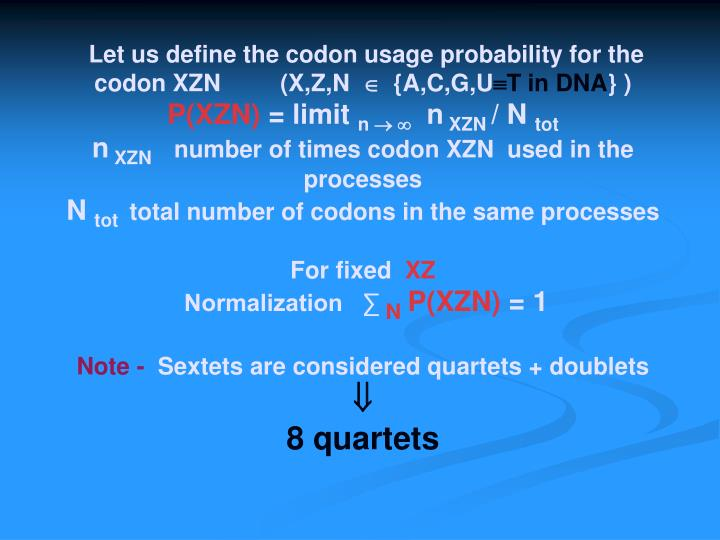 Let us define the codon usage probability for the codon XZN         (X,Z,N