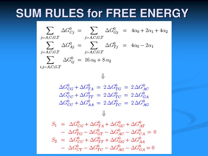 SUM RULES for FREE ENERGY