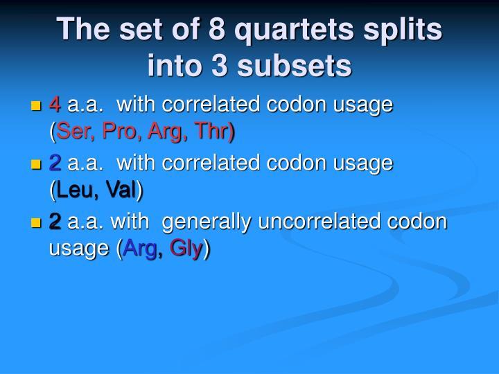 The set of 8 quartets splits into 3 subsets