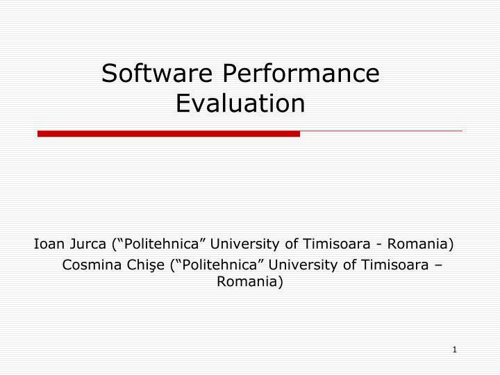 software performance evaluation n.