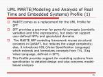 uml marte modeling and analysis of real time and embedded systems profile 1