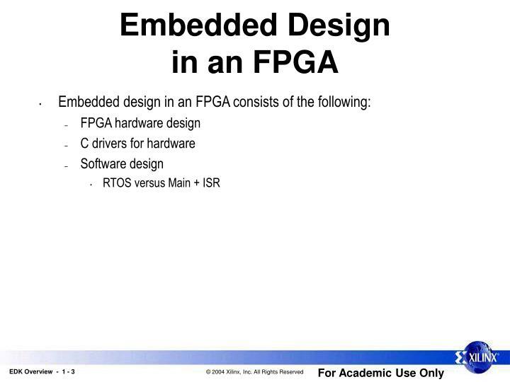 Embedded design in an fpga