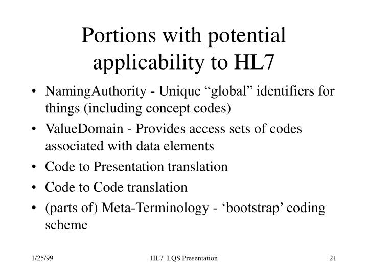 Portions with potential applicability to HL7