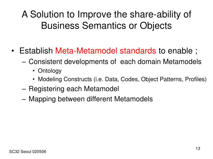 A Solution to Improve the share-ability of  Business Semantics or Objects