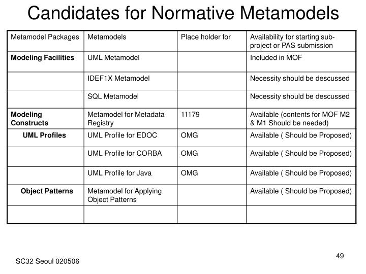 Candidates for Normative Metamodels