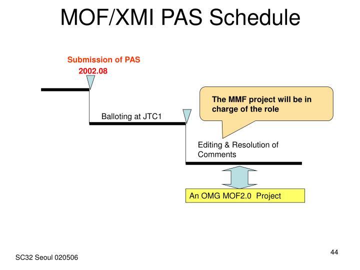 MOF/XMI PAS Schedule