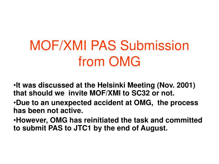 MOF/XMI PAS Submission from OMG