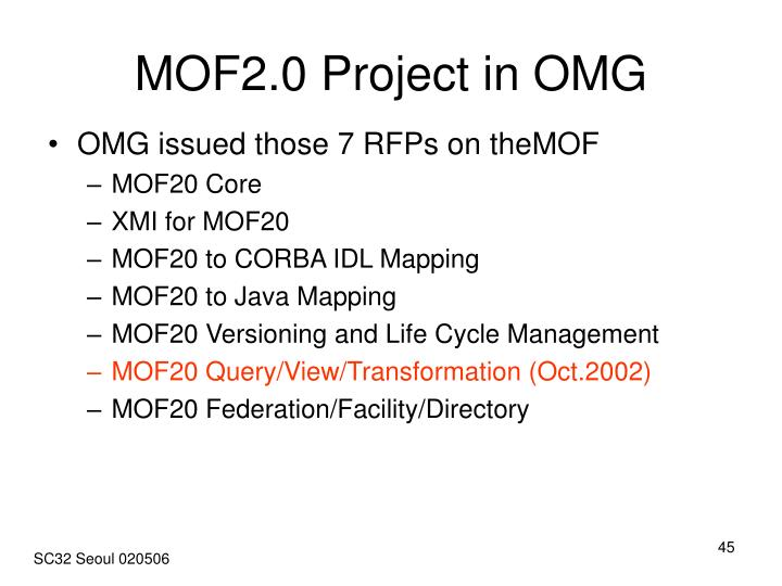 MOF2.0 Project in OMG