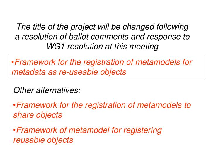 The title of the project will be changed following a resolution of ballot comments and response to W...