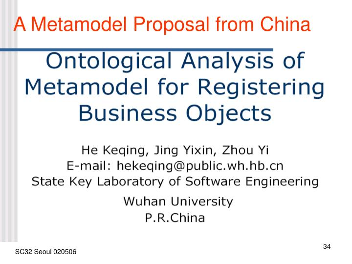 A Metamodel Proposal from China