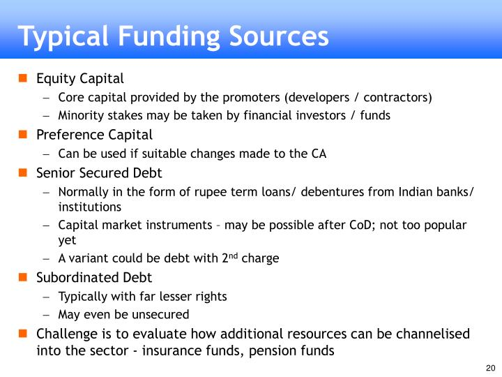 Typical Funding Sources