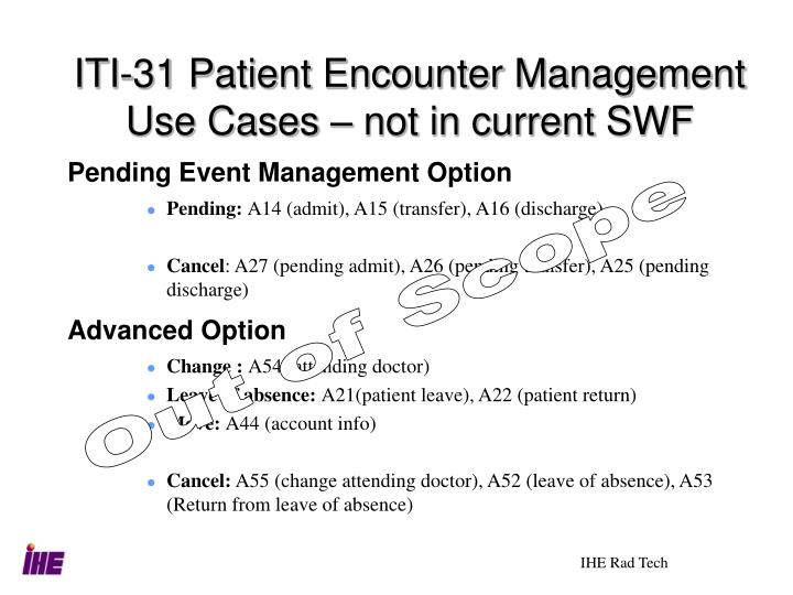 ITI-31 Patient Encounter Management Use Cases – not in current SWF