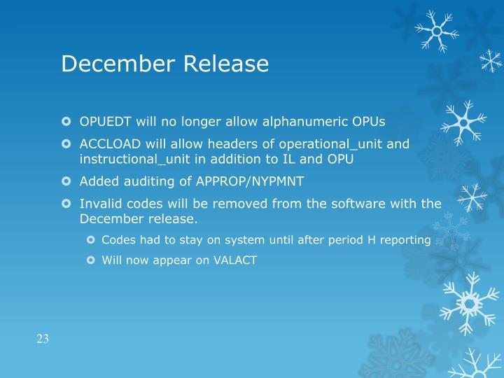 December Release