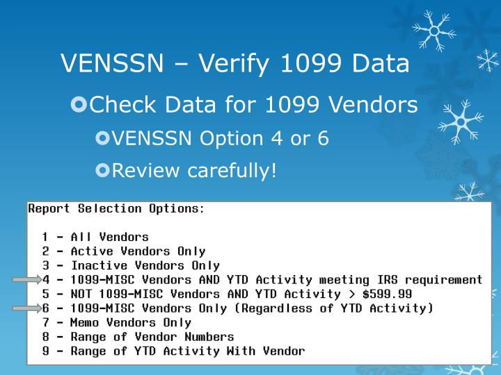 Venssn verify 1099 data