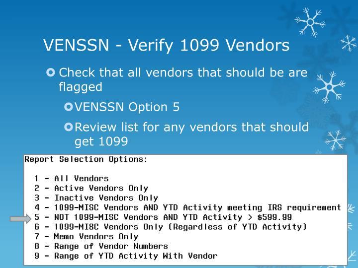 Venssn verify 1099 vendors
