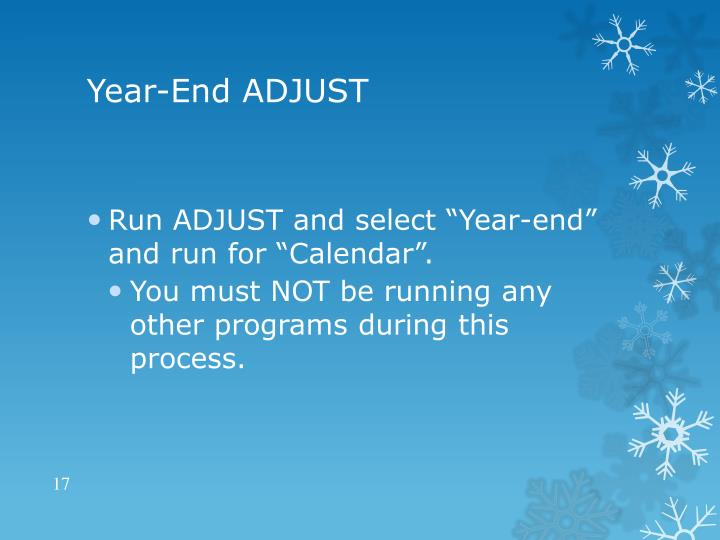 Year-End ADJUST