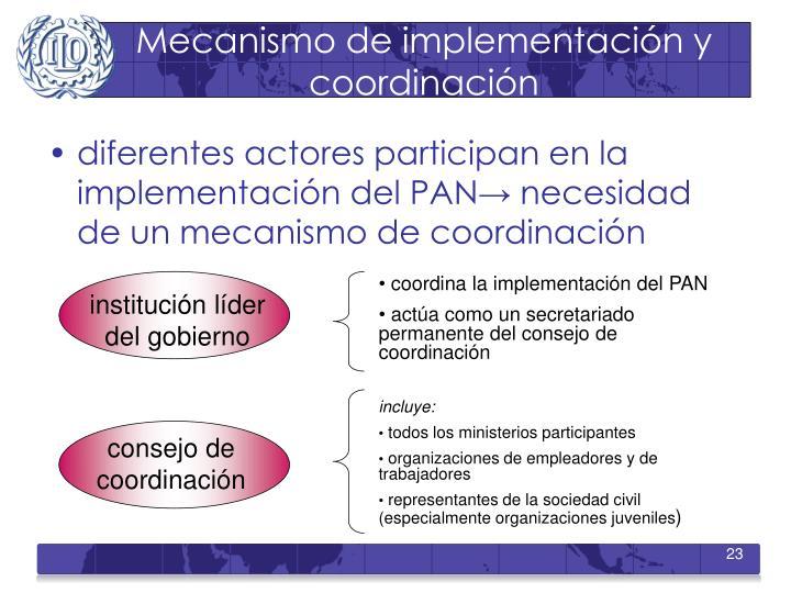 Mecanismo de implementación y coordinación