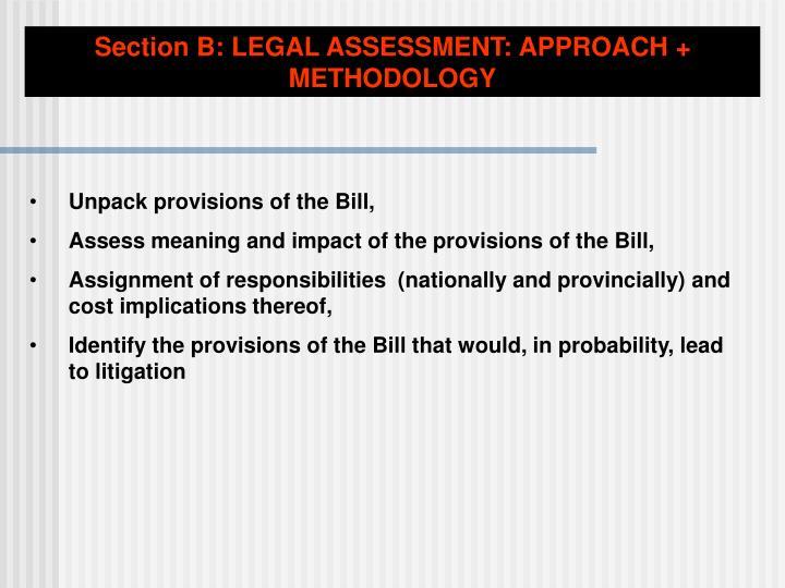 Section B: LEGAL ASSESSMENT: APPROACH + METHODOLOGY