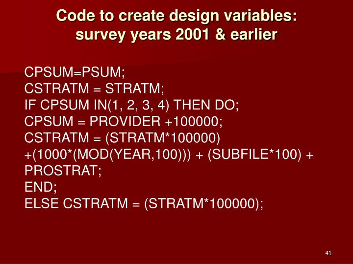 Code to create design variables: