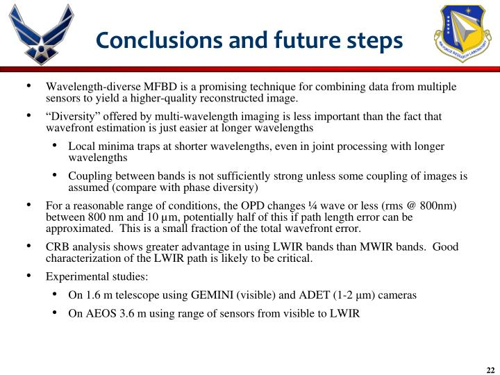 Conclusions and future steps