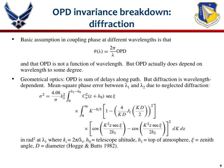 OPD invariance breakdown: diffraction