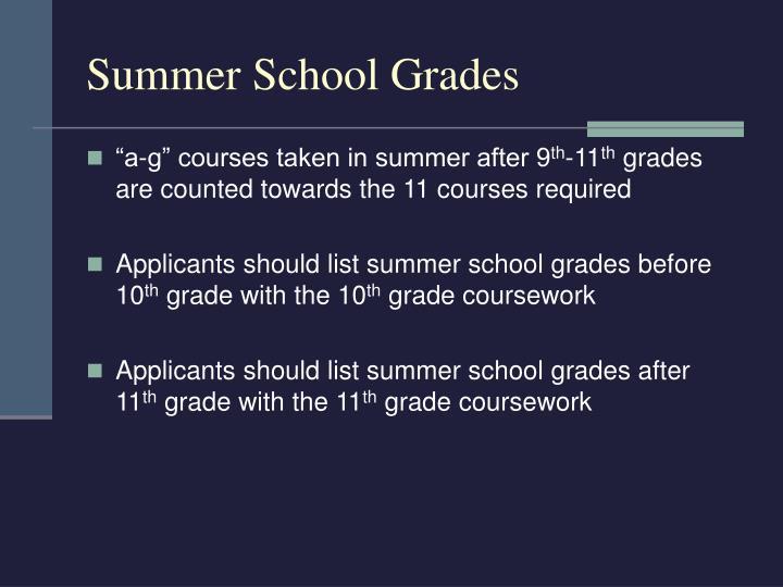 Summer School Grades