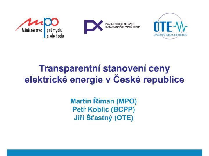 Transparentn stanoven ceny elektrick energie v esk republice