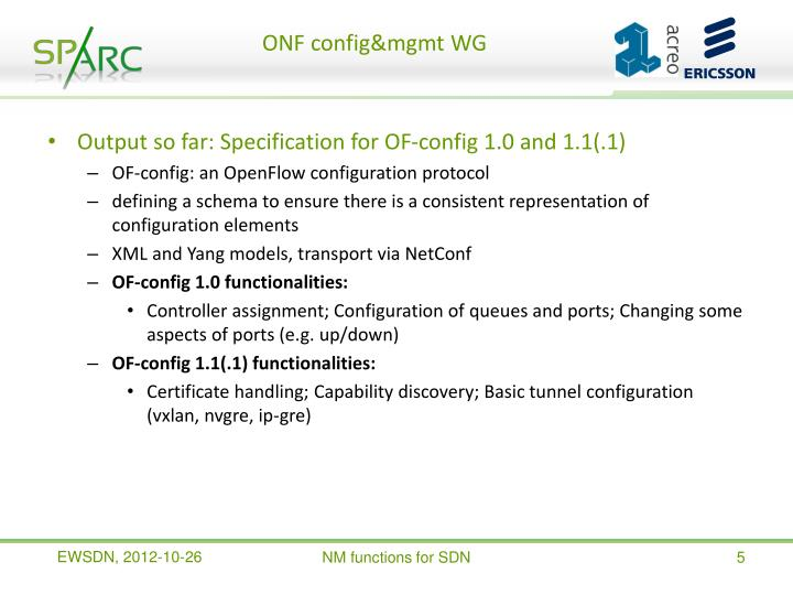 ONF config&mgmt WG