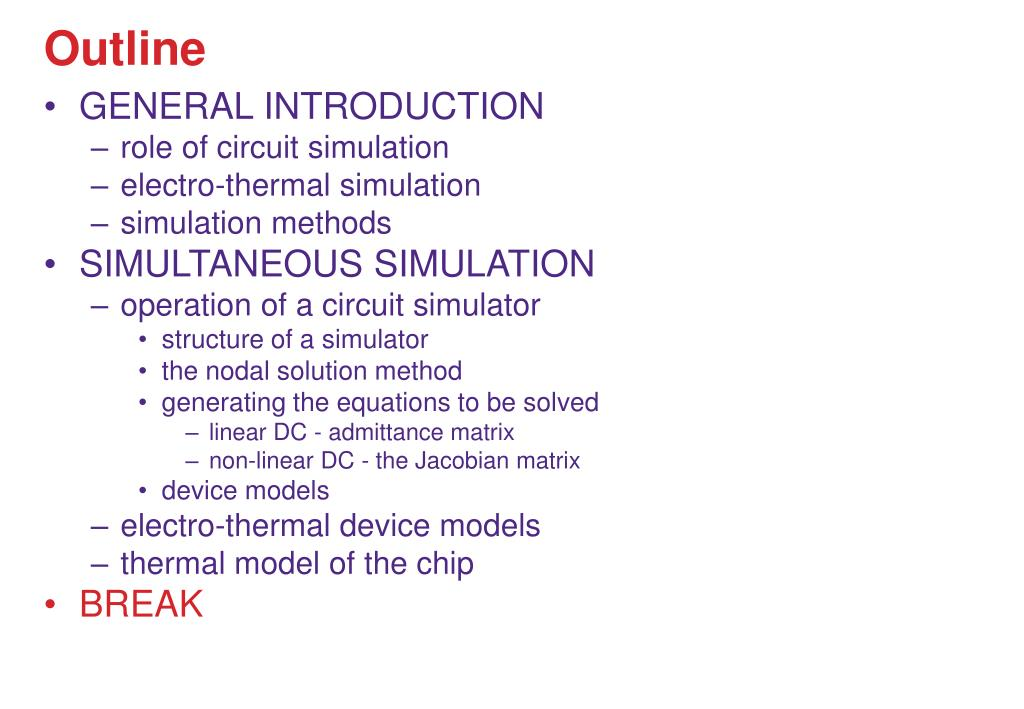 PPT - Electro-thermal simulation Methods, tools, examples