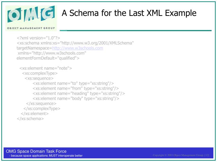 A Schema for the Last XML Example