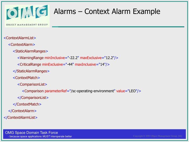 Alarms – Context Alarm Example
