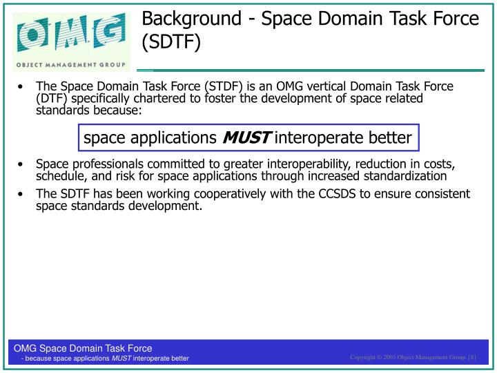 Background - Space Domain Task Force (SDTF)
