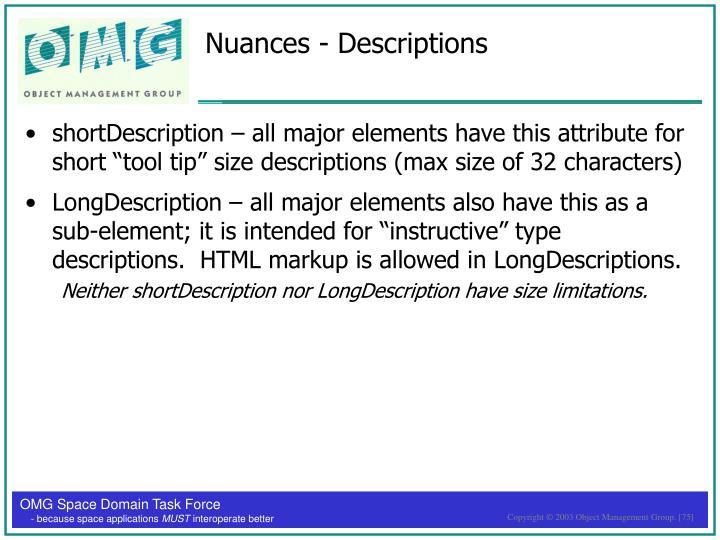 Nuances - Descriptions