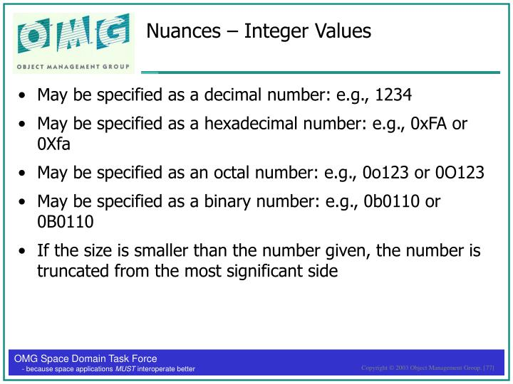 Nuances – Integer Values