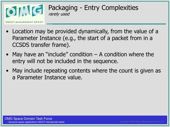 Packaging - Entry Complexities