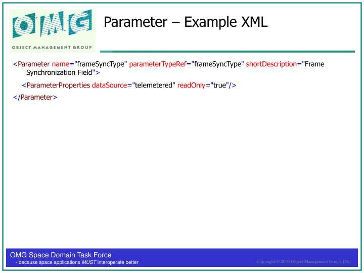 Parameter – Example XML