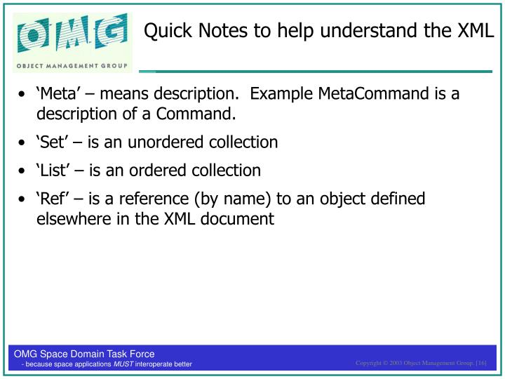 Quick Notes to help understand the XML