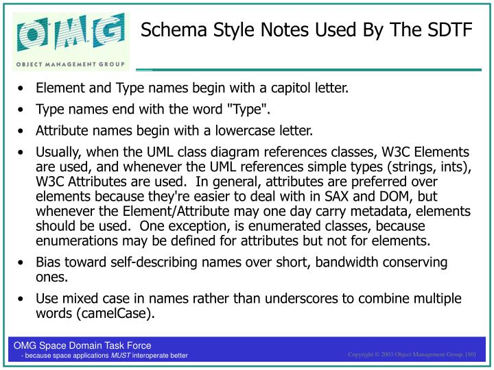 Schema Style Notes Used By The SDTF