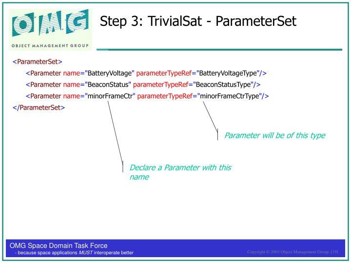 Step 3: TrivialSat - ParameterSet