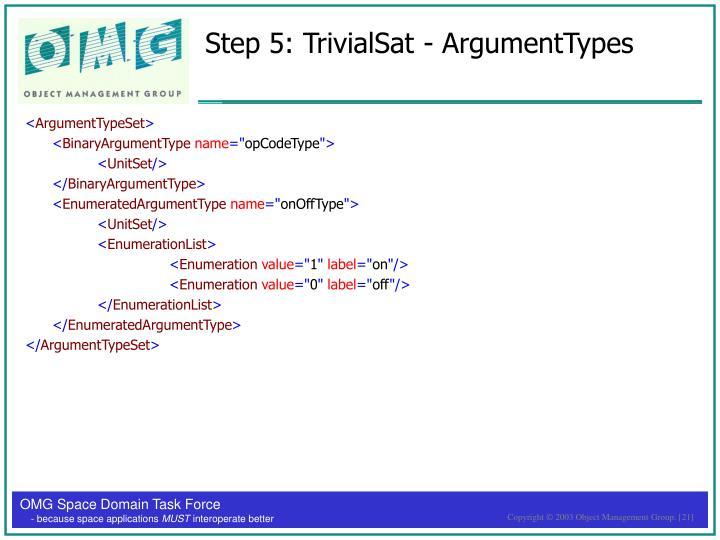 Step 5: TrivialSat - ArgumentTypes